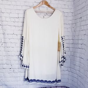 California Moonrise Bell Sleeve Embroidered Dress